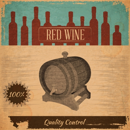 glass with red wine: Retro Menu Red Wine Card with Cask in Vintage Style. Vector Illustration. Illustration