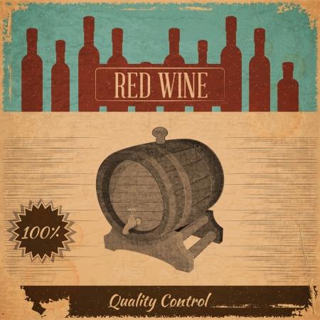 burgundy drink glass: Retro Menu Red Wine Card with Cask in Vintage Style. Vector Illustration. Illustration
