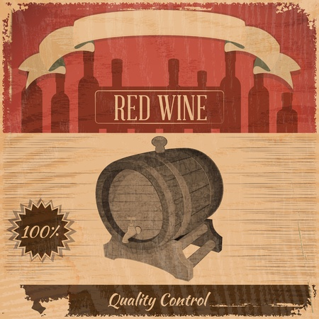 Retro Menu Wine Card with Cask in Vintage Style. Vector Illustration. Stock Vector - 17756512