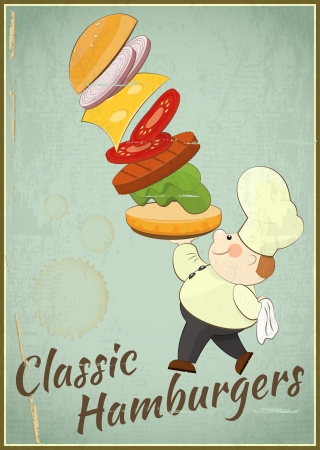 Big Burger. Cook and Hamburger. Cover Menu. Card in retro style. Vector illustration. Vector