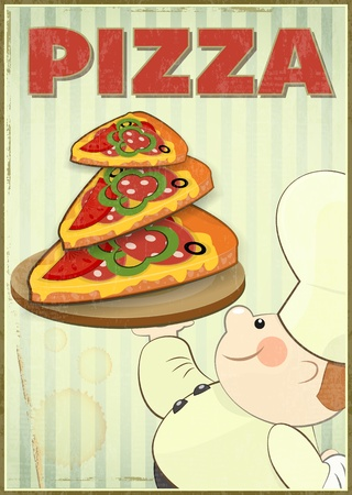 Pizza and Chef. Cover Menu for Pizzeria in Retro style. Vector Illustration. Vector