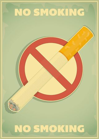 Retro poster - The Sign No Smoking in Vintage Style - Vector illustration Vector