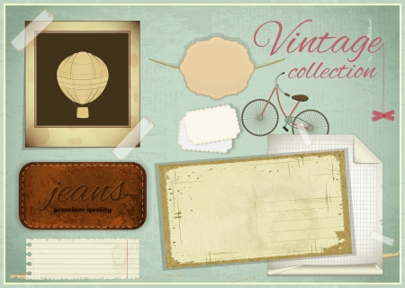 Vintage scrapbooking set - Retro old paper, photo frame - vector illustration Vector