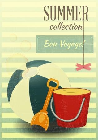 beach game: Beach toys Summer retro postcard - vector illustration Illustration