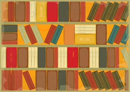 bookish: Book Background Retro Style - Bookcase. Vector Illustration.