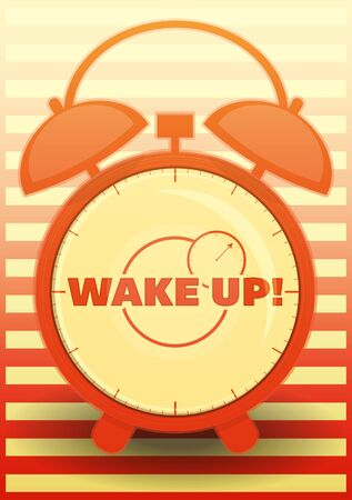 awake: Orange Alarm Clock with text: Wake up! Vector illustration.