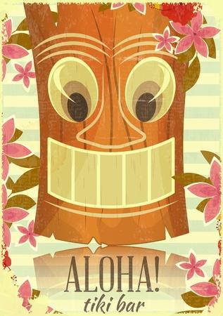 Vintage Hawaiian Aloha postcard - invitation to Tiki Bar - vector illustration