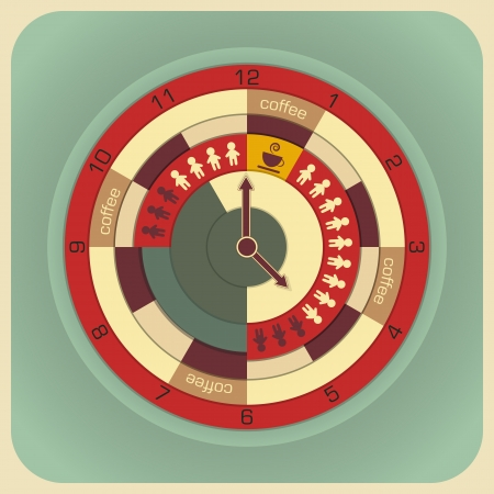 old time: Infographics Work Time Concept - vector illustration
