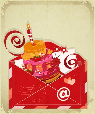 Vintage birthday card with Chocolate Berry Cake in Envelope, email concept. Vector Illustration. Vector