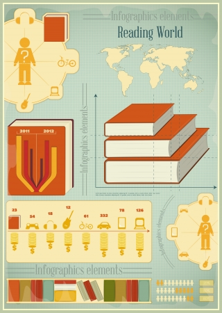 read book: Book Info graphics Elements for Presentations and Visualizations. Retro Style. Illustration.