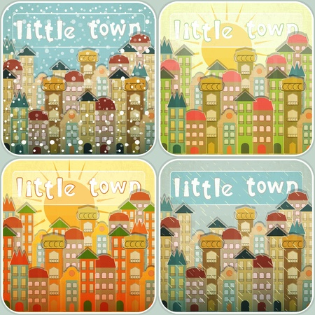 four pattern: Small Town Vintage Retro Seasons Set. Hand Lettering - Little Town.  Illustration.