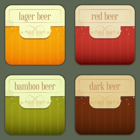 Four Design Beer Labels in vintage style -  illustration Vector