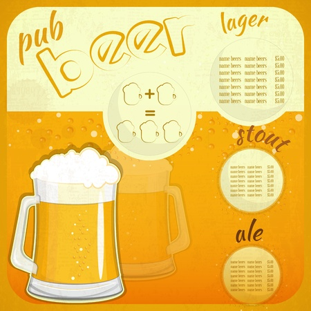 Square Retro Design Beer Menu - glass of beer vintage background -  illustration Vector