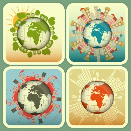 Concept of Urban and Rural Construction. Four Square Icons - Houses around the Planet Earth.  Illustration. Vector
