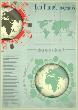 Infographics Planet Earth and Construction. The Concept of Global Construction.  illustration. Vector