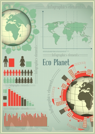 Infographics Eco Planet Earth and Construction. The Concept of Global Construction.  illustration. Vector