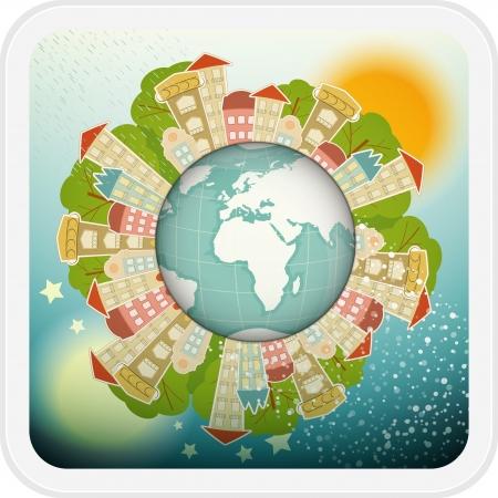 Small Planet mit Little Town - Häuser rund um den Planeten Erde. Illustration. Illustration
