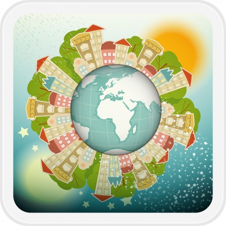 Small Planet with Little Town - Houses around the Planet Earth.  Illustration. Vector