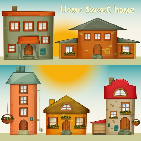 manor: Set of Cartoon Houses. Sweet Home - hand lettering. Vector Illustration.