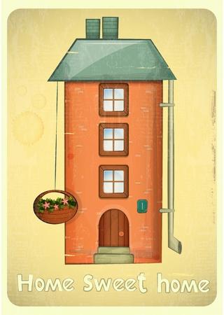 sweet home: Casas de la historieta tarjeta postal. Condominio Brick Urban Vintage en el fondo. Sweet Home - lettering mano. Vector Illustration.