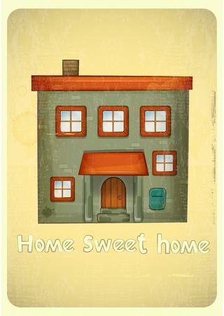 sweet home: Casas Cartoon postal. Condo Urbano en el fondo vintage. Sweet Home - mano letras. Ilustraci�n vectorial. Vectores