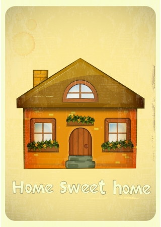 home group: Cartoon Houses Postcard. Country Cottage on Vintage Background. Sweet Home - hand lettering. Vector Illustration.