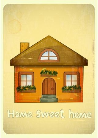 sweet home: Casas de la historieta tarjeta postal. Casa Rural en fondo de la vendimia. Sweet Home - lettering mano. Vector Illustration. Vectores