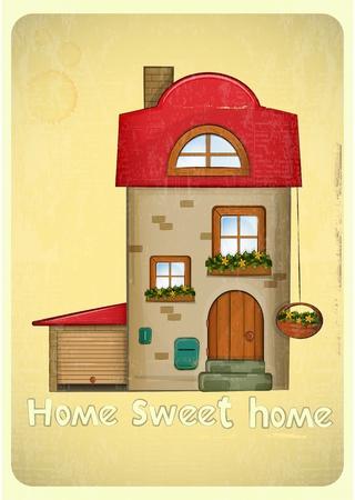 sweet home: Casas de la historieta tarjeta postal. Casa con garaje en el fondo vintage. Sweet Home - lettering mano. Vector Illustration.