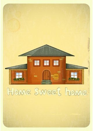 roof windows: Cartoon Houses Postcard. Country House on Vintage Background. Sweet Home - hand lettering. Vector Illustration.