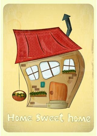 sweet home: Casas de la historieta tarjeta postal. Crooked House en fondo de la vendimia. Sweet Home - lettering mano. Vector Illustration.