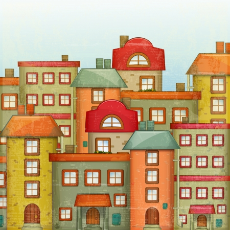 at town square: Square Urban background. Townhouses in a retro Style. Little Town. Vector Illustration.