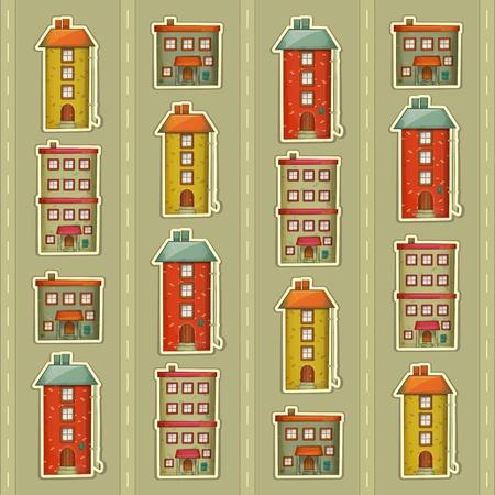 townhouses: Fondo Urban Square. Casas de pueblo en un Style retro en el fondo Gray. Little Town. Ilustraci�n Vector. Vectores
