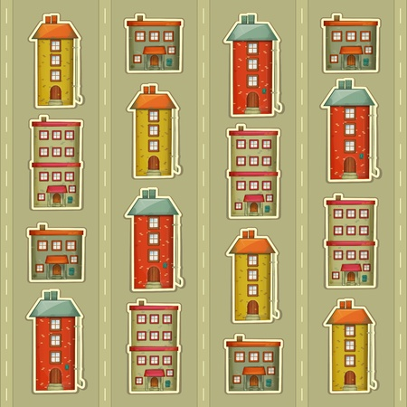 little town: Square Urban background. Townhouses in a retro Style on Gray Background. Little Town. Vector Illustration.