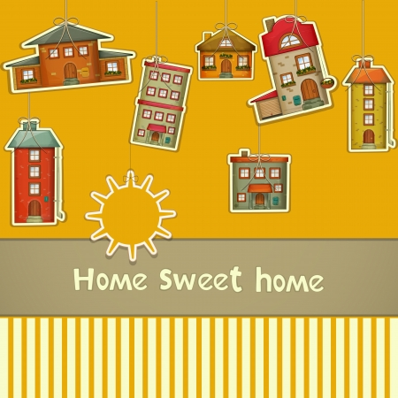Set of Houses. Cartoon Homes and Sun on Yellow Background. Hand lettering -  Sweet Home. Vector Illustration.