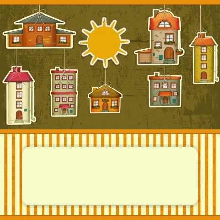 Set of Houses Retro Card. Cartoon Homes and Sun on Vintage Background with place for text.  Vector
