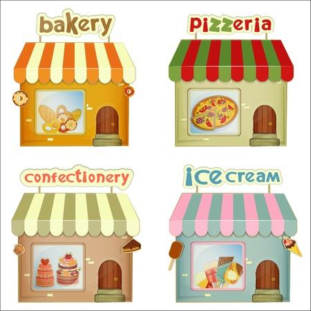 casita de dulces: Conjunto de Tiendas de dibujos animados. Panadería, pizzería, tienda de dulces, helado aislado en el fondo blanco.