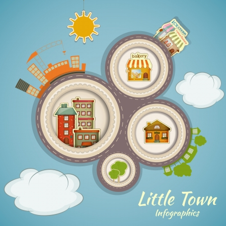 at town square: Little Town Infographics. Urban Structure in Cartoon Style Illustration