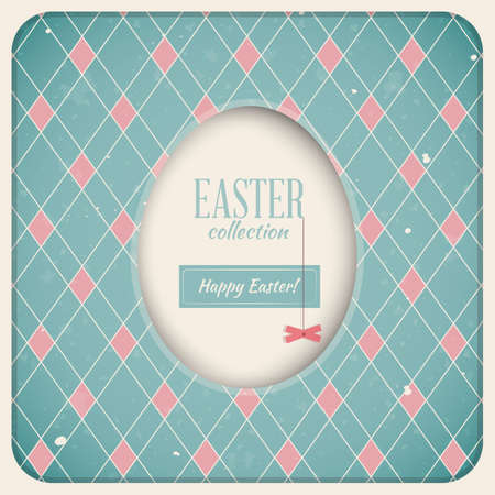 Easter Retro Card  White Egg on Checkered Background Vector