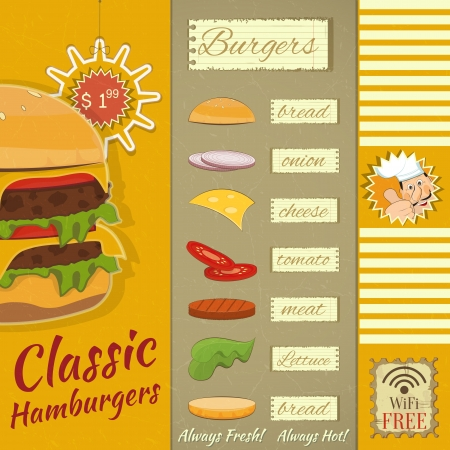 gourmet burger: Retro Design of Burgers Menu, Big Hamburger with Ingredients and place for Price in Retro Style   Illustration