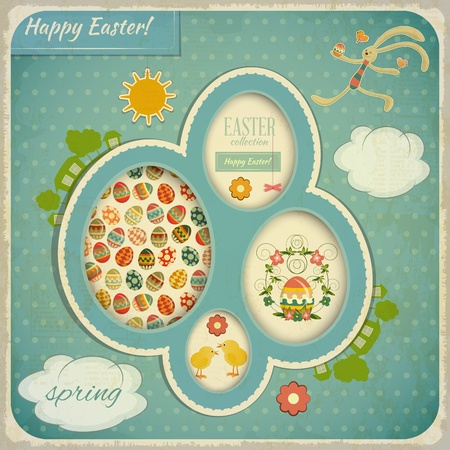 Retro Vintage square Card with Easter Set. Vector
