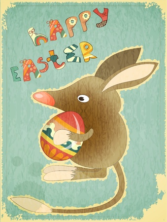 Retro Vintage Card with Easter Australian Bilby and Egg. Hand Lettering Happy Easter.  Vector