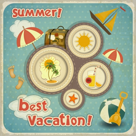 Summer Vacation Card in Vintage Style  Retro Travel Postcard with Summer Items in Old Style  Hand Lettering Text Illustration  Vector