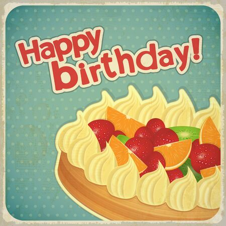 Vintage birthday card with Fruit Cake Vector