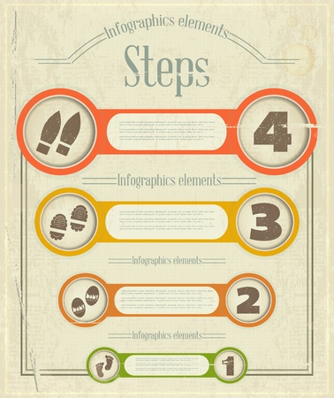 Vintage Infographics Design. Steps. Retro Elements for Visualization -  illustration. Vector