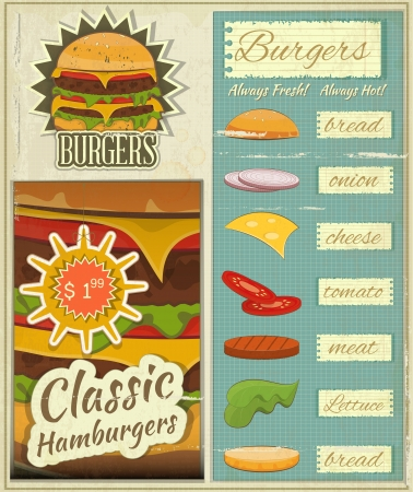vegetable fat: Retro Design of Burgers Menu, Big Hamburger with Ingredients and place for Price in Vintage Style. Set.  Illustration.
