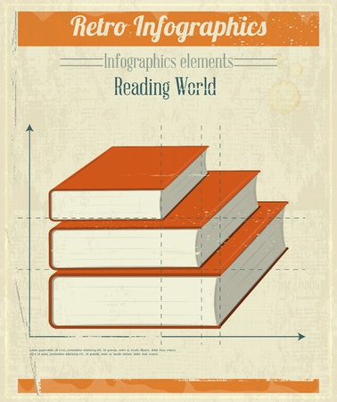 Vintage Infographics Design - Books Graph for Presentation. Vector illustration. Vector