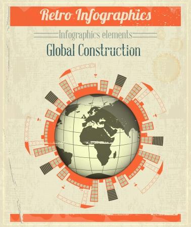 Konzept der Global Construction. Vintage Infografik - Gebäude im Bau auf der ganzen Planeten Erde. Vector Illustration.