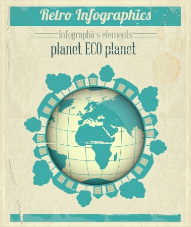 Ecology Concept Eco Planet, Blue Earth on Vintage Paper Background. Infographics. Vector illustration. Vector
