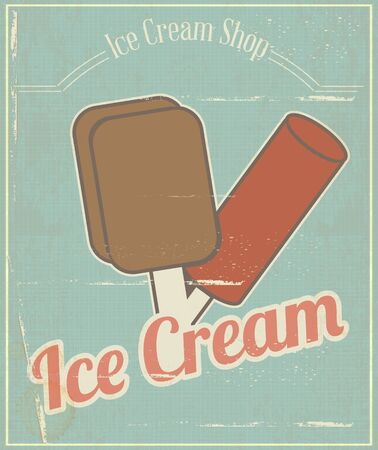 Ice Cream Vintage Grunge Menu Card in Retro Style.  illustration Vector