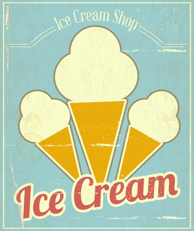 Ice Cream Vanilla Vintage Menu Card in Retro Style.  illustration Vector